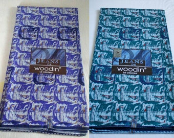 Woodin African Fabric,  Authentic Ghana Cotton Print, For Sewing, Crafts, Quilts, Head Wraps and More, Purple/Blue 2 Yard Bundle
