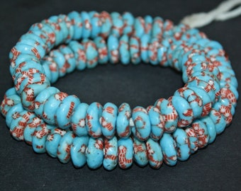 20 African Disc Beads, Handmade Refashioned Glass,  Krobo, Ghana 14-15 mm Spacers,  Turquoise, for Jewelry and Crafts