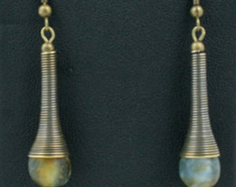 Drop Earrings with African Recycled Glass Beads, Golden Brown/Blue Tones