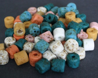 African Beads Ghana Krobo Recyled Glass Tubes 12 to 14mm long, mixed colours, handmade, for Jewelry and Crafts