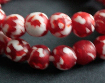 15 Red African Beads, Ethnic Ghana Krobo Refashioned Glass, for Jewelry and Crafts, 13-14 mm,  Translucent Red and Opaque White,