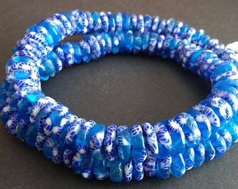 40 Blue  African Disc Beads,  Krobo Ghana Refashioned Disc Spacers, 10-12 mm, for Jewelry and crafts,