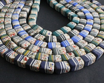 10 African Beads, Ghana Recycled Glass, Cuboid, Krobo, 17-20 mm, Handmade Ethnic Craft. Blue/Charcoal/Green/Grey/Teal, beading and crafts