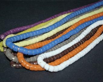 African beads, Handmade Ghana Krobo Recyled Glass Tube Spacer, 5-7 mm , 1 full strand or pack of 50