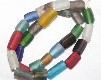 African Beads, Ghana Recycled Glass, Handmade, Krobo, Ghana Cuboid, Mixed Lot, Small Packs
