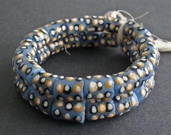 16 African Beads Recycled Glass Ghana Krobo Chunky Tubes Handmade,14-17 mm, Blue/White/Black/Mustard, 1 Full strand