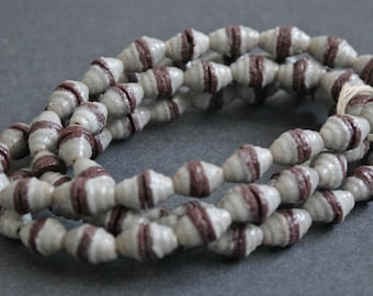 74 African Beads, Ethnic Handmade Krobo Ghana Cones, 7 mm Pale Blue/Brown, Full Strand