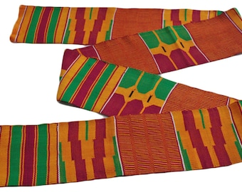 Kente Cloth, Authentic African Ghana Fabric, Handwoven, Red/Green/Orange, Very Beautiful, Graduation Stole, Gift Idea