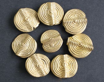 Flat African Brass Beads, Handmade Ethnic Ashanti, Ghana, Lost Wax Discs with Spiral Design, 15-17 mm, Pack of 10