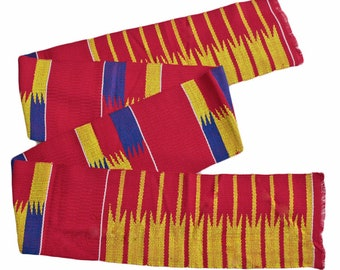Red Kente Fabric Strip from Ghana, Authentic Handwoven Strip, Cotton, for Sewing or Graduation Stole, Gift Idea, Reduced to Clear