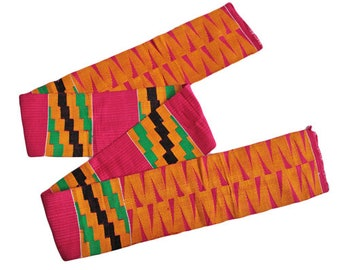 Kente Fabric Authentic African Ghanaian Cloth Handwoven, Hot Pink, Very Beautiful, Graduation Stole, REDUCED TO CLEAR