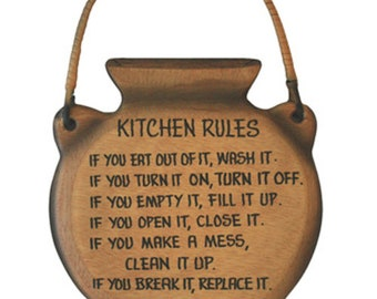 African Kitchen Wall Plaque, Solid Wood, Gift Idea