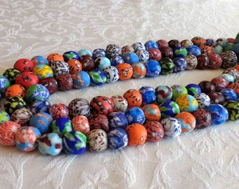 African Beads Ghana Krobo Refashioned Glass Handmade Round 12 - 15mm, for Beaded Jewelry and Crafts,  Mixed Lot full strand of 45