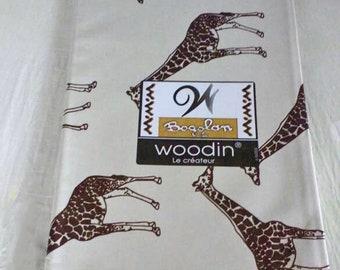 African Upholstery Fabric, Giraffe Print Authentic Woodin Brand, Ghana Cotton Print, Cream & Brown Print, By the Yard