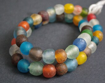 47 African Beads, Ghana Recycled Glass, 13-16 mm Round, Handmade for Jewelry and Crafts, 1 Full Strand of Mixed Colours