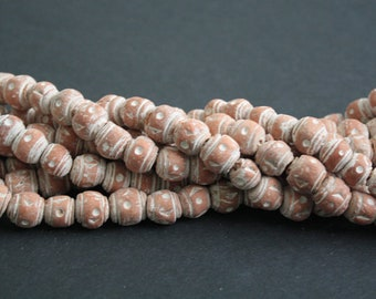 70 African Clay Beads, from Mali, Round , Brick Red/White, Handcrafted, 11-13 mm, Full Strand