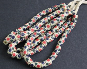19 African Beads, Krobo Ghana Recycled Glass, Hand-made Ethnic Tubes, 11-15 mm, One Strand