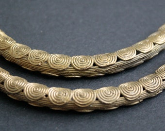 1 Curved African Brass Bead, 110-115 mm Tube Handmade in Ashanti, Ghana, by Lost Wax Technique