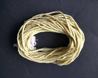 African Waist/seed Beads Handmade Ghana Krobo 3mm Recycled Glass, Custard, long strand 52 inches