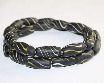 24 Black African Beads, Recycled Glass Barrels/Bi-cones, Handmade ethnic Craft from Ghana', 24-28mm, Full strand