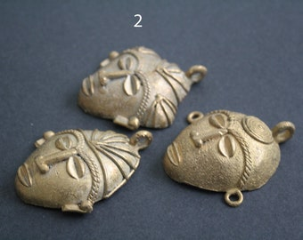 1 African Brass Pendant, Tribal Mask, Ghana Ashanti Lost Wax, Handmade  3 Options, 60-64 mm