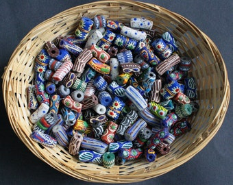 African Tube Beads, Handmade Ghana Krobo Recycled Glass from Krobo, Ghana, Mixed Lot , Pretty & Colourful for Jewely and Crafts