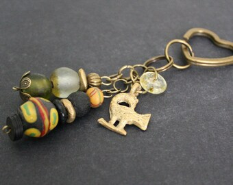 African Bag Charm, Adinkra Sankofa Charm, Handmade with Recycled Glass Beads and Brass Beads, Small Gift for Her