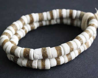 20 African Beads, Ghana Krobo Recycled Glass Tubes 11-14mm, Handmade, White/Mud Brown, for Beading and crafts, 1 Full Strand