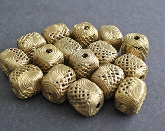 6 African Brass Beads, Ashanti Ghana Lost Wax Cuboids, Mesh/Spiral Design, 20mm, Hand-made for Jewellery and Crafts. Beautiful!