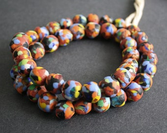 15 African Beads, Ethnic Ghana Krobo Refashioned Glass, for Jewelry and Crafts, 13-15 mm, Multi-coloured