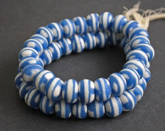 29 African Beads, Ghana Krobo Ethnic Glass, 11-12 mm Approx, Blue and White,  for Jewelry and Crafts