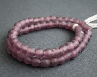 60+African Beads, Ghana Krobo Recycled Glass, Purple, 9-10mm, Handmade Ethnic Craft for Jewelry and Crafts, 1 Full Strand
