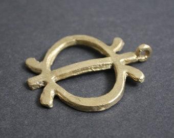 African Brass Pendant, Large Adinkra* Charm,  Ethnic Ashanti African Wawa Aba Design (Symbol of Toughness) Handmade,, 65mm