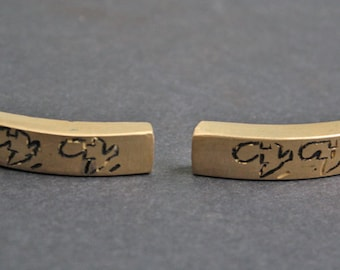 2 African Brass Bracelet Bars, 40 mm Curved Handmade Ethnic Ashanti Ghana Craft, with Africa Map