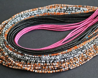 3mm African Vinyl Beads, Vulcanite Heishi Discs, Black/Orange/Magenta, 35 inch Long strand, 5 colour Options, for Beading and Crafts