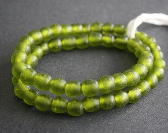 20 African Beads, Handmade Recycled Glass from Krobo in Ghana, 9-110 mm Bright Olive Green