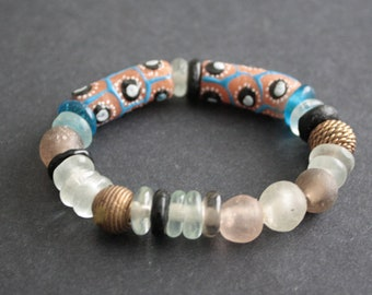 Beaded African Bracelet, Stretchy Ghana Krobo Recycled Glass and Brass  Metal Beads, Small Gift for Her, Blue/Chocolate Brown