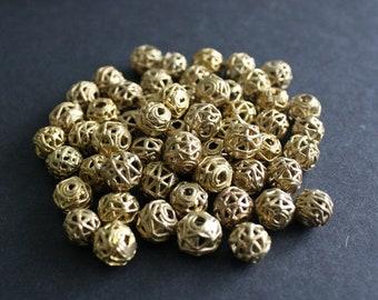 15 African Brass Beads, Handmade Ghana Ashanti Ethnic Lost Wax beads 9-10mm Round