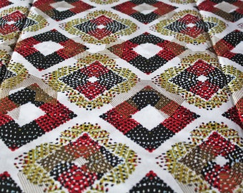 African Fabric by the Yard Woodin Brand Ghanaian Cotton Print, White, Red, Gold, for Clothing, Interiors, Head Wraps, Nearly 2 Yards