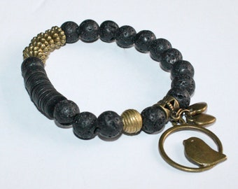 Lava Bracelet with African Brass Bead and Hearts/Bird Charms, Stretchy, 6.25 inches, Pretty & Cute