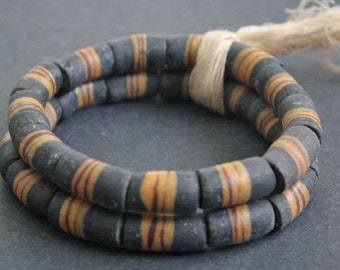 13 Black African Tube Beads, Ghana's Krobo Recycled Glass Tubes 22 mm,  Handmade, Speckled Black and Gold for Jewelry and Crafts, 1 Strand