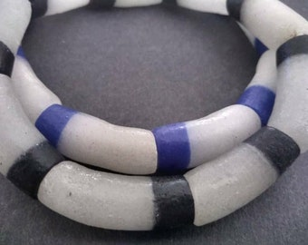 9 Large African Beads Ghana Krobo Recycled Glass 32mm Handmade 2-Layer Tubes, for Jewelry and crafts, Full Strand