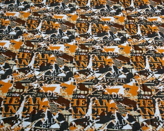 African Fabric by the Yard, Woodin Brand, Ghanaian Cotton Print, Orange, Brown and White for Sewing, Clothing, Head Wraps, Quilts, and More