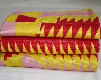 Kente Fabric Ghana Authentic Handwoven Artisan Cotton Craft, Pink/Red/Lemon, 3 Size Options, for Clothing/Interiors