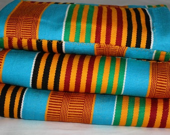 Kente Fabric from Ghana, Authentic Handwoven Traditional Festive Cloth, Blue and Multi, 3 Size Options