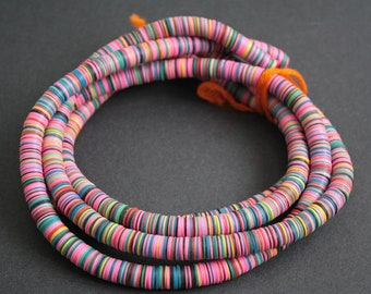 African Vinyl Beads, Vulcanite Heishi Discs 10mm wide, Full Strand 35 inches Long, for Beading and Crafts