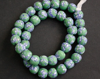 Full Strand African Beads, Ghana Refashioned Glass, Round, Handmade, 15-mm,  Green/blue/White, for Jewelry and Crafts