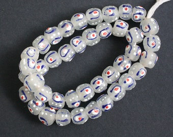 African Glass Beads, Handmade Recycled Glass from Ghana's Krobo, Round, 14-15 mm, 14-Pack, Clear, Blue and White