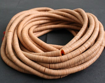 6-7 mm African Vinyl Beads, Vulcanite Heishi Discs,  36 inch Long strand, Terracotta/Orange