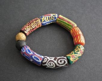 Chunky African  Bracelet, Ghana Krobo Mixed Recycled Glass & Brass Bead, 7 Inches, Gift Idea